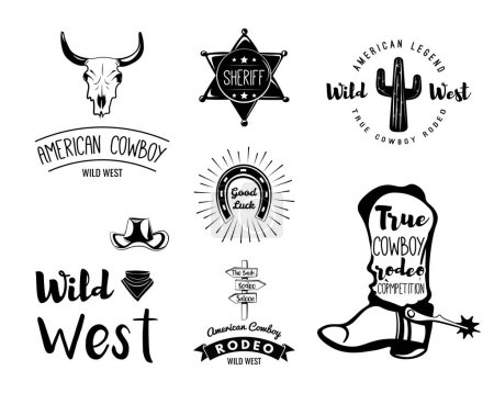 Illustration for Wild West. Set of vintage rodeo emblems, labels, logos, badges and designed elements. - Royalty Free Image