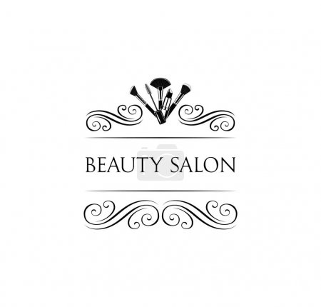 Beauty Salon Badge. Makeup Brushes. Make Up Artist badge Vector
