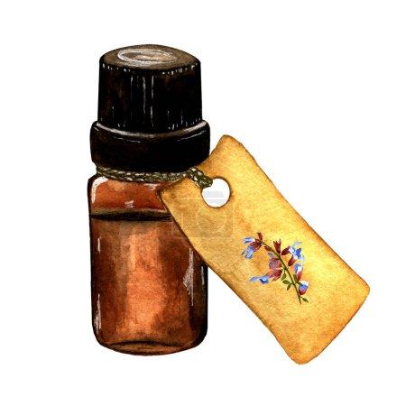 Photo pour Illustration à l'aquarelle. Peint à la main. bouteille brune avec huile essentielle et étiquette sur fond blanc. - image libre de droit