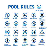 Swimming pool rules Set of icons and symbol for pool