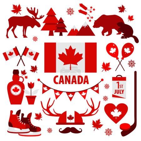 Illustration pour Panneau et symbole du Canada, Éléments d'information icônes plates . - image libre de droit