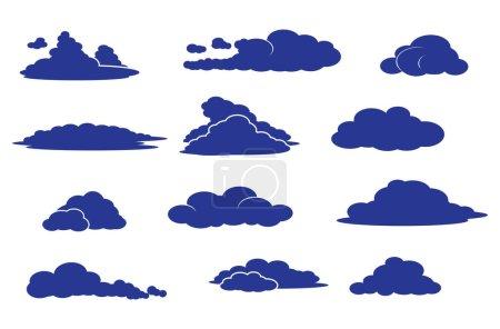 ensemble vectoriel de différents nuages - formes de nuages dans l'atmosphère