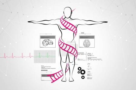 digital illustration of healthy man concept