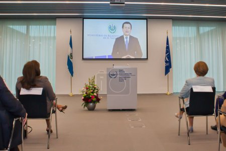 Photo pour 2016 : Cérémonie d'adhésion officielle à la Cour pénale internationale (CPI), où El Salvador adhère au Traité de Rome. - image libre de droit