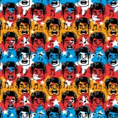 Vector image large pattern funny faces singing Man