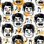 Vector image pattern Man singing funny head