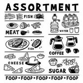 Picture Food and drink assortment Large set of simple black and white images