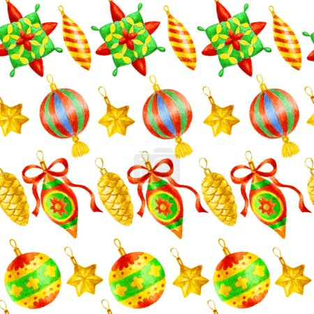 Photo pour Peinture à la main aquarelle motif sans couture avec des décorations de Noël - image libre de droit