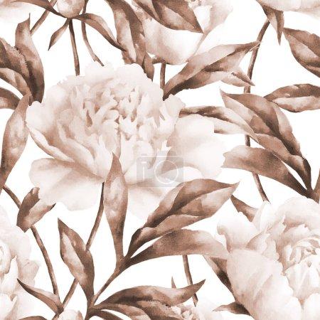 Photo pour Aquarelle peinture à la main pivoines et feuilles roses, motif sans couture, modèle pour textile, papier peint, papier d'emballage. - image libre de droit