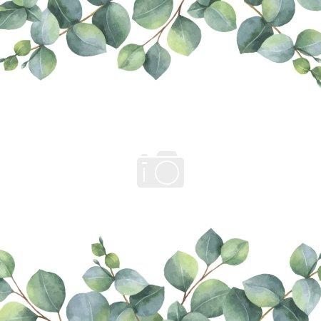 Illustration pour Carte florale vert vecteur aquarelle avec feuilles d'eucalyptus et branches isolées sur fond blanc. Herbes de guérison pour les cartes, invitation de mariage, affiches, enregistrer la date ou la conception de salutation . - image libre de droit