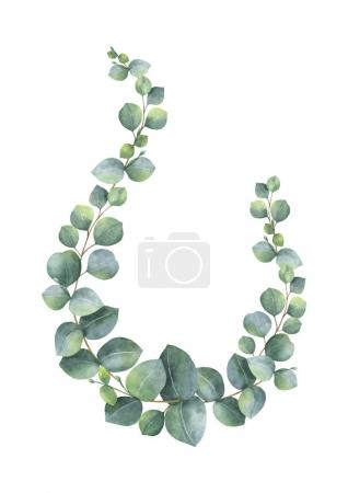 Illustration for Watercolor vector wreath with green eucalyptus leaves and branches. Spring or summer flowers for invitation, wedding or greeting cards. - Royalty Free Image