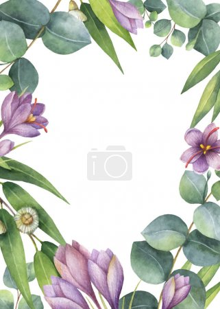 Illustration for Watercolor vector hand painted green floral card with eucalyptus leaves, purple flowers and branches isolated on white background. Healing Herbs for cards, wedding invitation, greeting design. - Royalty Free Image