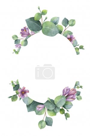 Illustration for Watercolor vector wreath with green eucalyptus leaves, purple flowers and branches. Spring or summer flowers for invitation, wedding or greeting cards. - Royalty Free Image