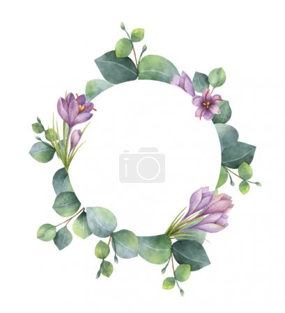 Illustration for Watercolor vector hand painted round wreath with eucalyptus and flowers of saffron. Healing Herbs for cards, wedding invitation, posters, save the date or greeting design. - Royalty Free Image