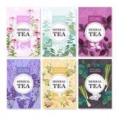 Herbal Tea Colored Banners Set