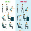 Correct and incorrect posture flat icons with men ...