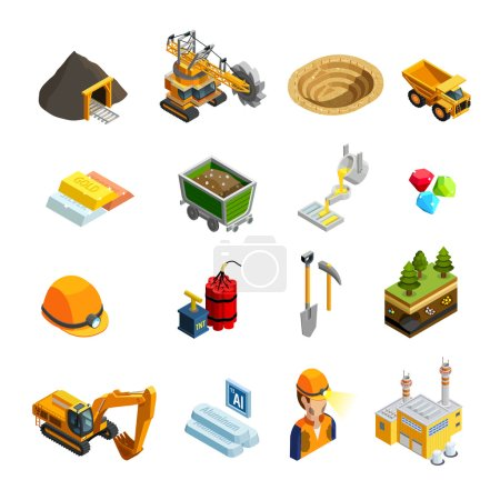 Mining Isometric Icons Set