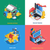 Financial Isometric Icons Square Composition