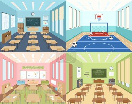 Illustration pour Ecole isométrique 2x2 compositions présentant différentes salles de classe pour l'art mathématique et la littérature et illustration vectorielle de salle de sport - image libre de droit