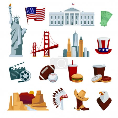 Illustration for Usa flat icons set with american national symbols and attractions isolated on white background vector illustration - Royalty Free Image