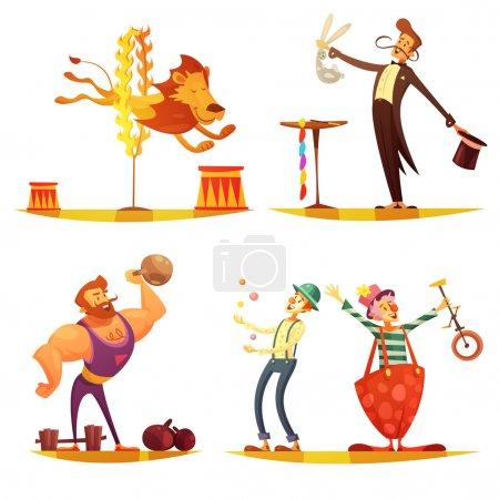 Circus Retro Cartoon 4 icons Square