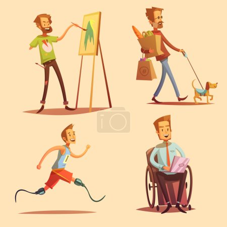 Disabled People Retro Cartoon 2x2 Icons Set