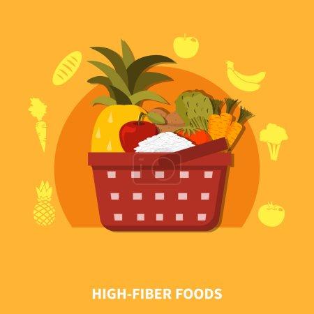 Illustration for Supermarket basket composition with fresh healthy food fruits vegetables symbols orange background flat vector illustration - Royalty Free Image