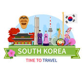 South korea national cultural symbols sightseeing places of interest for tourists flat composition advertisement poster vector illustration