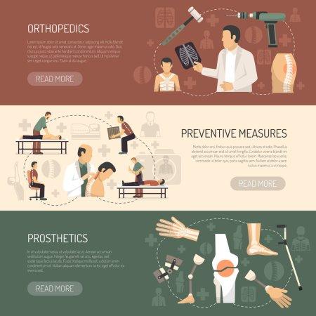 Illustration pour Orthopédie et traumatologie bannières horizontales avec publicité des prothèses et mesures préventives illustration vectorielle plate - image libre de droit