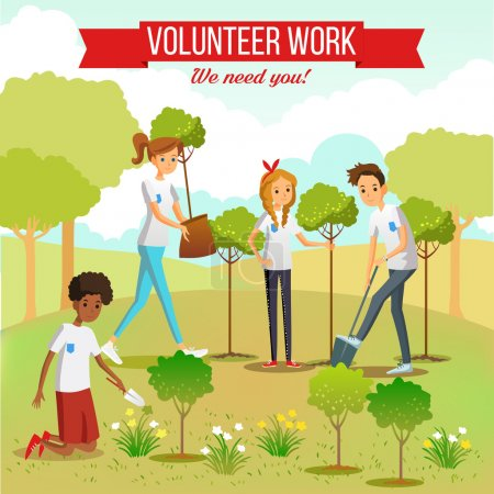 Illustration for Gardening and planting seedlings  in the park by volunteer boys and girls group flat vector illustration - Royalty Free Image