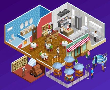 Illustration pour Restaurant concept isométrique intérieur avec des installations et des symboles de service sur fond bleu foncé illustration vectorielle - image libre de droit