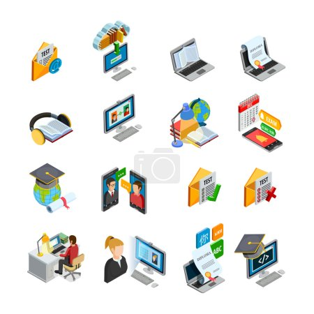 Illustration for E-learning isometric icons set with books and education symbols isolated vector illustration - Royalty Free Image