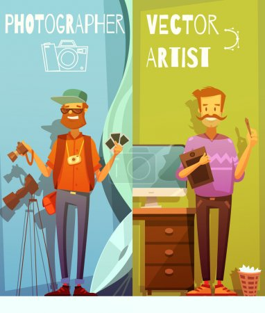 Illustration for Two vertical cartoon banners with funny photographer and artist standing near equipment for their creative work flat vector illustration - Royalty Free Image