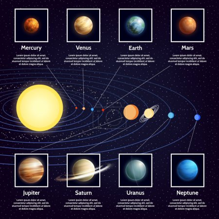 Illustration for Solar system planets Infographic set with sun orbits and space cartoon vector illustration - Royalty Free Image