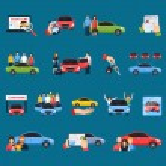 Carsharing icons set with carpooling symbols on bl...