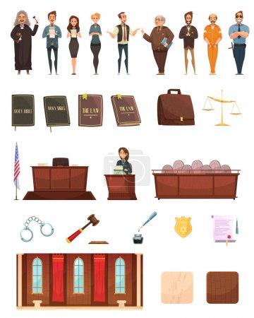 Illustration pour Justice pénale rétro icônes de bande dessinée collection avec des livres de droit jury boîte juge et salle d'audience isolé vecteur illustration - image libre de droit