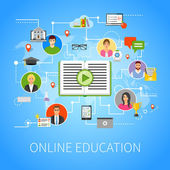 Online Education Flat Infographic Webpage Composition