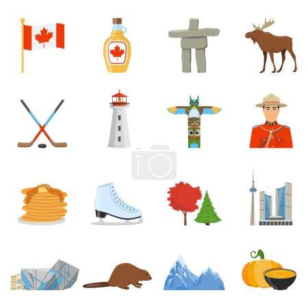 Illustration pour Symboles culturels et sportifs nationaux canadiens lieux d'intérêt pour les touristes collection d'icônes plates illustration vectorielle isolée - image libre de droit