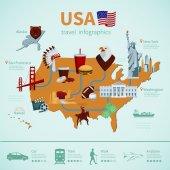 USA Flat Map Infographics