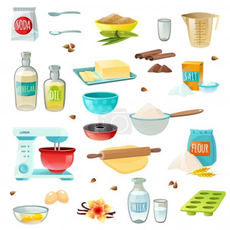 Illustration for Baking ingredients colored isolated icons set with flour sugar salt butter eggs milk cinnamon vanilla vector illustration - Royalty Free Image