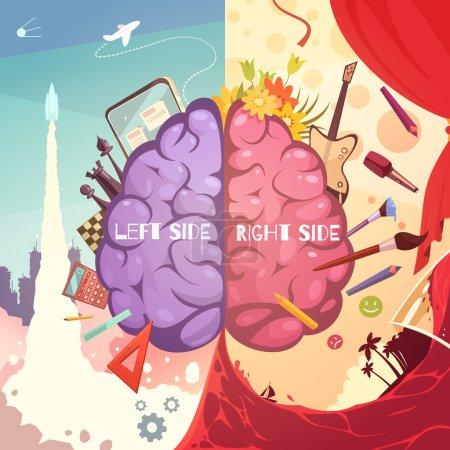 Brain Right Left Sides Cartoon Poster