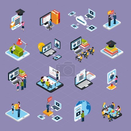 Illustration for Webinar podcasting isometric icons set with laptop and people isolated vector illustration - Royalty Free Image