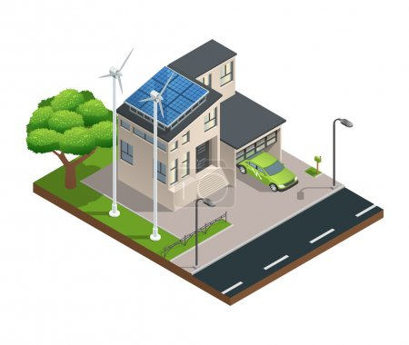 Illustration for Modern green eco house with garage lawn solar panels producing electricity on roof and two wind turbines isometric vector illustration - Royalty Free Image