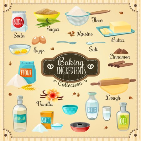 Illustration for Cooking icons various baking ingredients for delicious pastry and necessary utensils flat isolated vector illustration - Royalty Free Image
