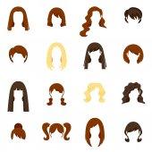 Woman Hair Icons Set