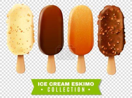 Illustration pour Collection de crème glacée de tarte eskimo avec des variétés blanches foncées et douces de glaçage au chocolat à fond transparent illustration vectorielle réaliste - image libre de droit