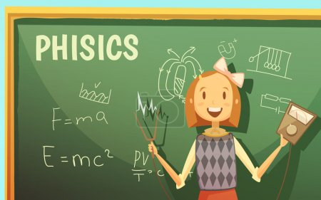 Illustration for Physics lessons for elementary primary school kids with schoolgirl by blackboard with formulas cartoon poster vector illustration - Royalty Free Image
