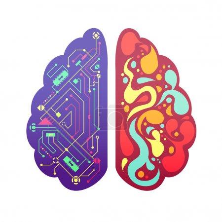 Illustration pour Cerveau humain gauche et droit hémisphères cérébraux image symbolique figurine colorée avec organigramme et zones d'activité illustration vectorielle - image libre de droit