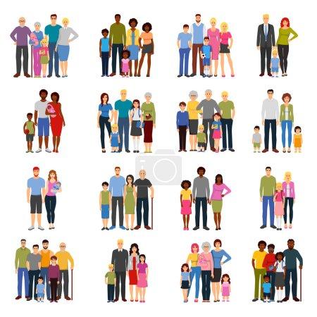 Photo pour Jeunes couples et familles avec adolescents grands-parents pères et mères appartement icônes isolées set illustration vectorielle - image libre de droit