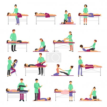 Illustration for Massage icons set with healthcare symbols flat isolated vector illustration - Royalty Free Image